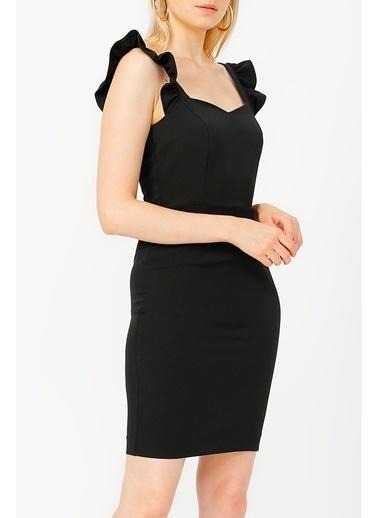 Random Kadın Askılı Fırfır Detaylı Elbise Siyah